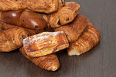 Appetizing French croissants on a table — Stock Photo