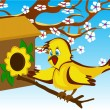 Bird in the birdhouse near a flowering tree - Stock Vector