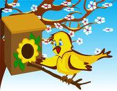 Vogel in der voliere bei einem blühenden baum — Stockvektor