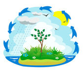 Illustration of the water cycle — Stock Vector