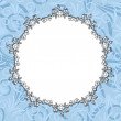 Round blue floral frame — Stock Vector