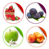 Fruit stickers isolated on white background — Stock Photo