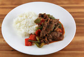 Beef teriyaki with rice — Stock Photo