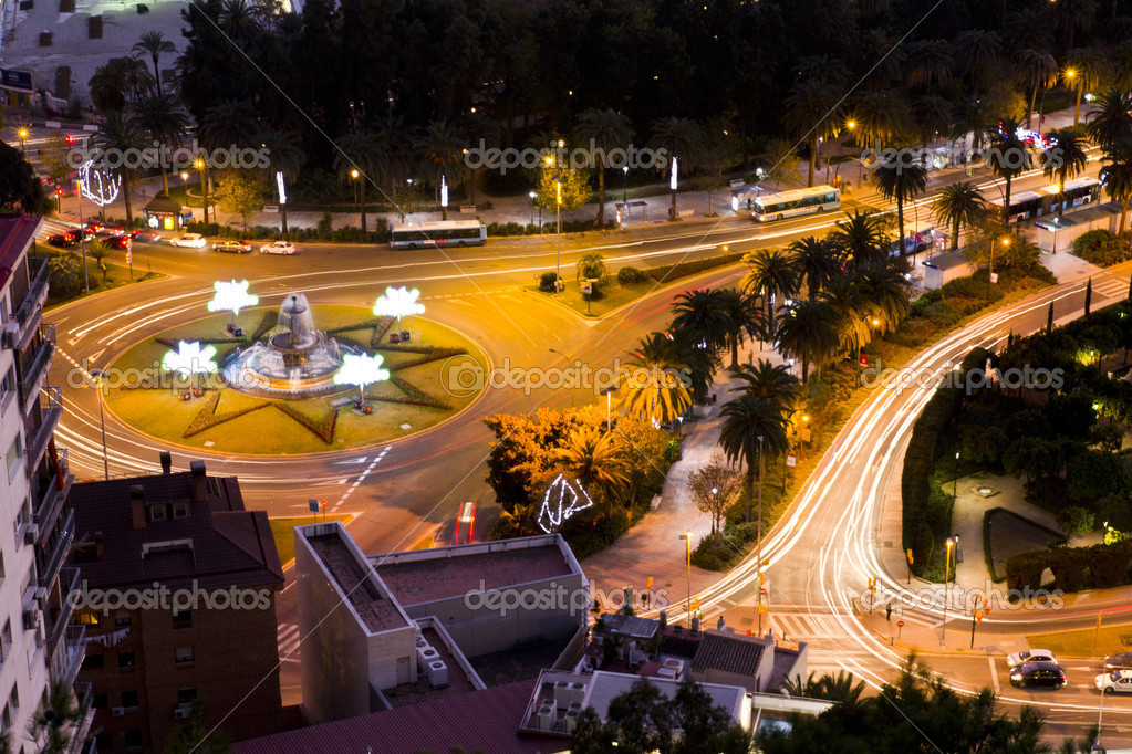 Malaga park, night view from the castle Gibralfaro — Stock Photo #8232196