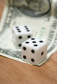 Dice and dollar note — Stock Photo