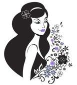 Giovane e bella donna con motivo floreale — Vettoriale Stock