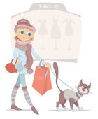 Shopping woman with bag and smiling cat on sale — Stock Vector