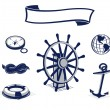 Nautical icon and sailing emblem set in blue - Stock Vector