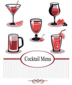 Summer drinks and cocktail glass icon set — Stock Vector