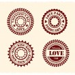 Valentine's Day Vintage Stamps — Stock Vector