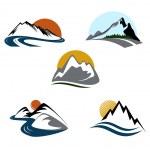 emblema diseño conjunto de montañas — Vector de stock