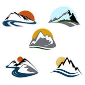 Set di schemi di montagne emblema — Vettoriale Stock
