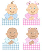 Babies boy and girl mascot set 3 — Stock Vector