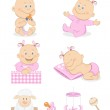 Baby girl with toys and accessories — Stock Vector #9471977