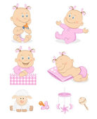 Baby girl with toys and accessories — Stock Vector