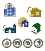 Real estate emblem and stamp set — Stock Vector