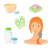 Bath and SPA body care icon set — Stock Vector