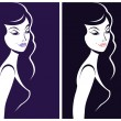 Beautiful woman shadow portrait. Girl silhouette icon — Imagen vectorial
