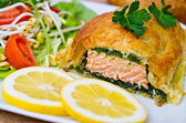 Salmon in puff pastry — Photo