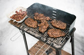 BBQ during the winter — Stock Photo