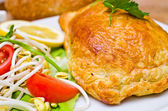 Salmon in puff pastry — 图库照片