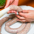 Homemade traditional sausage - Stockfoto