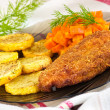 Parmesan breaded chicken breast - Stock Photo