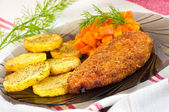 Parmesan breaded chicken breast — Stock Photo