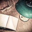 Old lamp and book — Stock Photo #8907023