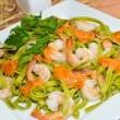 Tagliatelle with prawns — Stock Photo