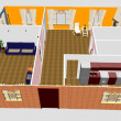 Foto Stock: 3d apartment floor plan.