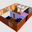Stok fotoğraf: 3d apartment floor plan. Top view.