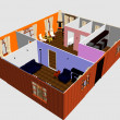 Stock Photo: 3d apartment floor plan. Top view.