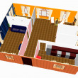 Foto Stock: 3d apartment plan.