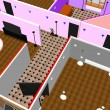 Stock Photo: 3d apartment floor plan