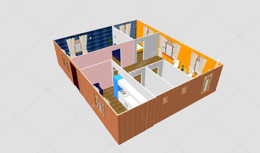 Clear 3d apartment floor plan interior idea. Kitchen, Dining, Living, Bedroom, Wolk in Closet, Hall, Bathroom.  — Stock Photo #9722656