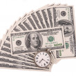 Stock Photo: Clock over heap of money