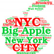 New York city, the big apple tag cloud — Stock Photo