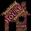 House - shaped tag cloud , home symbo - Stock Photo