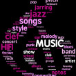 Treble clef tag cloud illustration for Music concept — ストック写真