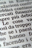 Italian words on a newspaper — Stock Photo