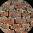 Brick wall fisheye view — Stock Photo