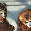 Two masks in Venice Carnival — Stock Photo
