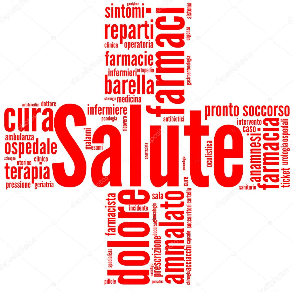 Good health and wellbeing tag or word cloud red cross shaped. Italian language words.  Stock Photo #9133532