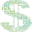 Dollar symbol communication tag cloud — Stock Photo