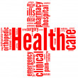Health and wellbeing tag or word cloud - red cross symbol - Stock Photo