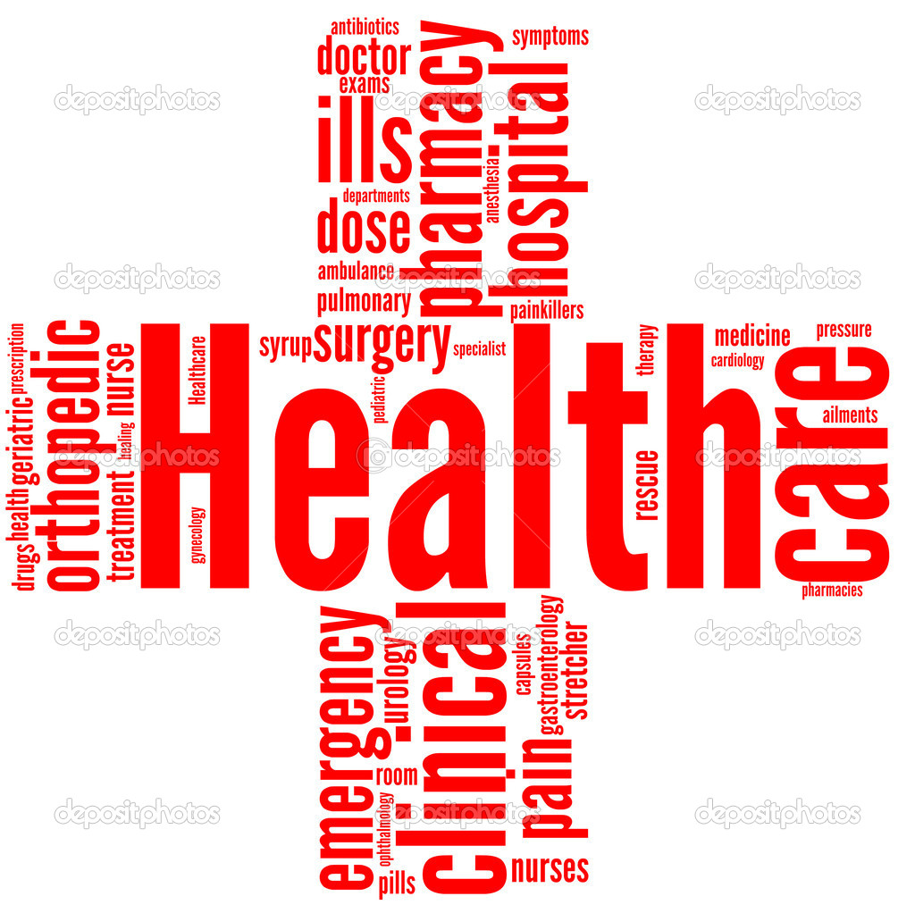Good health and wellbeing tag or word cloud red cross shaped  Stock Photo #9260232