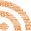 Rss feed sign tag cloud - Foto de Stock