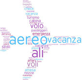 Aeroplane tag cloud shape in Italian — Stock Photo