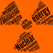 Nuclear symbol tag cloud - Stock Photo